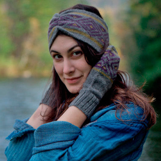 Luxurious Alpaca Headband - Geometric Gray, Bolivia