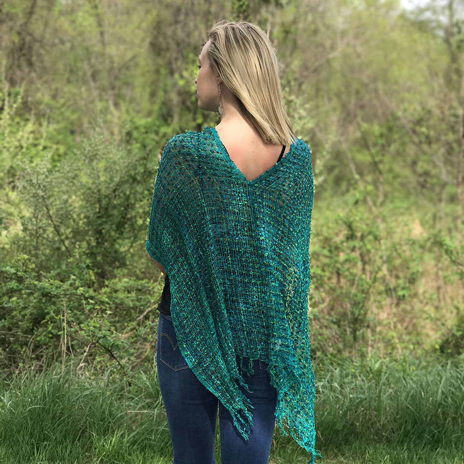 Fair trade woven handmade poncho from Nepal