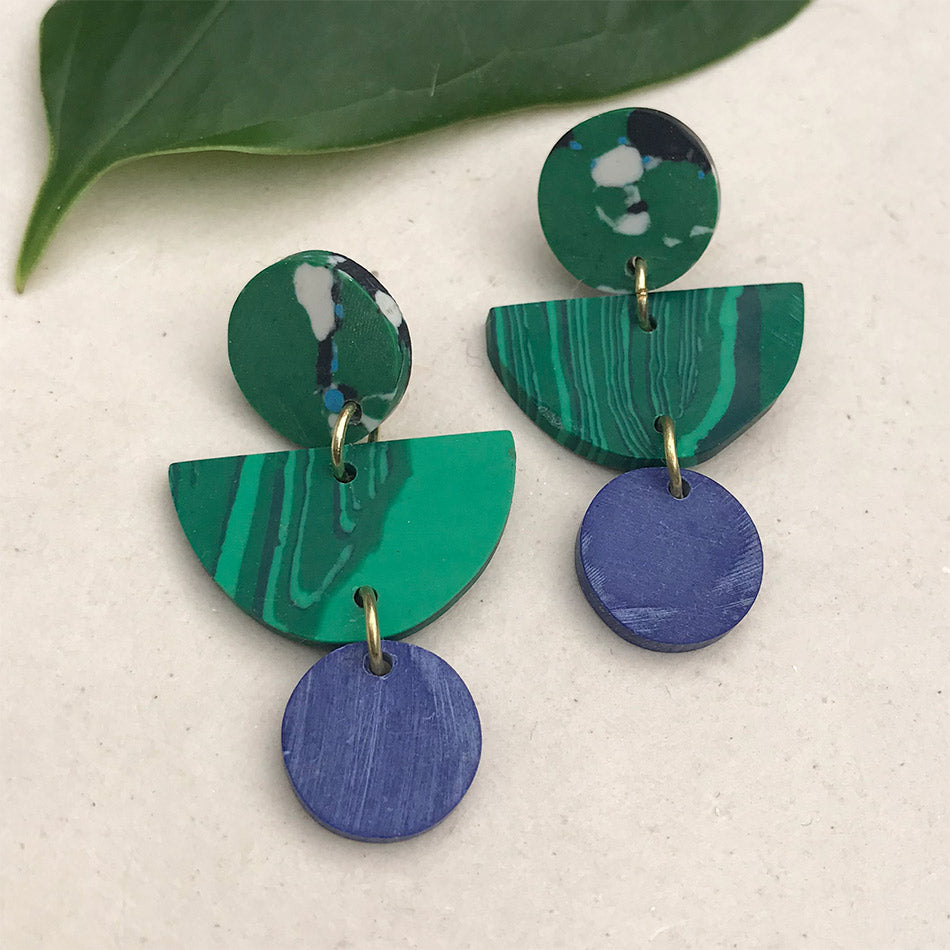 Fair trade clay earrings handmade by women in India