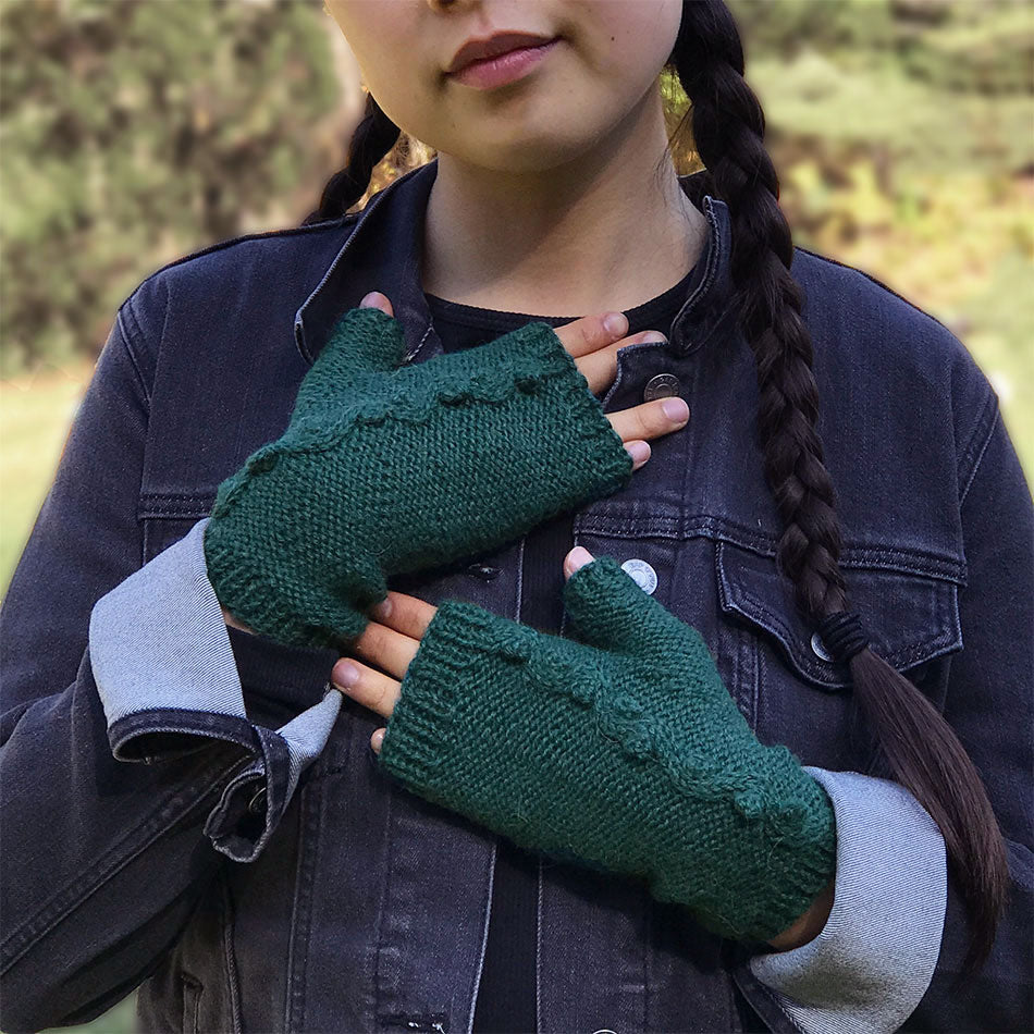 Fair trade alpaca fingerless gloves