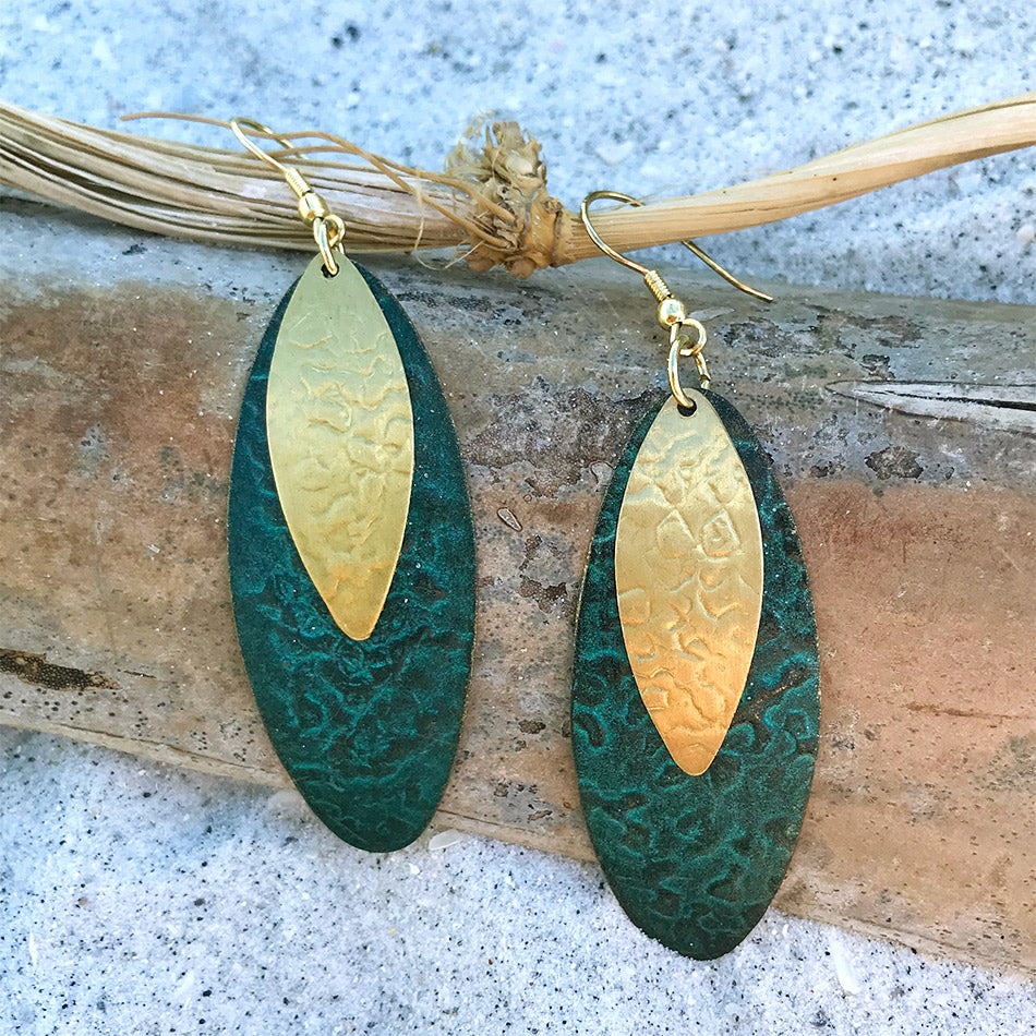Fair trade brass painted earrings handmade by women in India