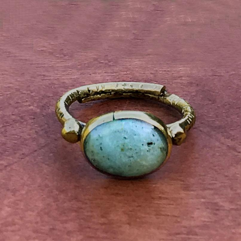 Fair trade chalcedony ring handmade by women in Chile
