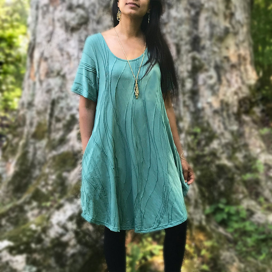 Fair trade cotton pocket dress handmade in Nepal