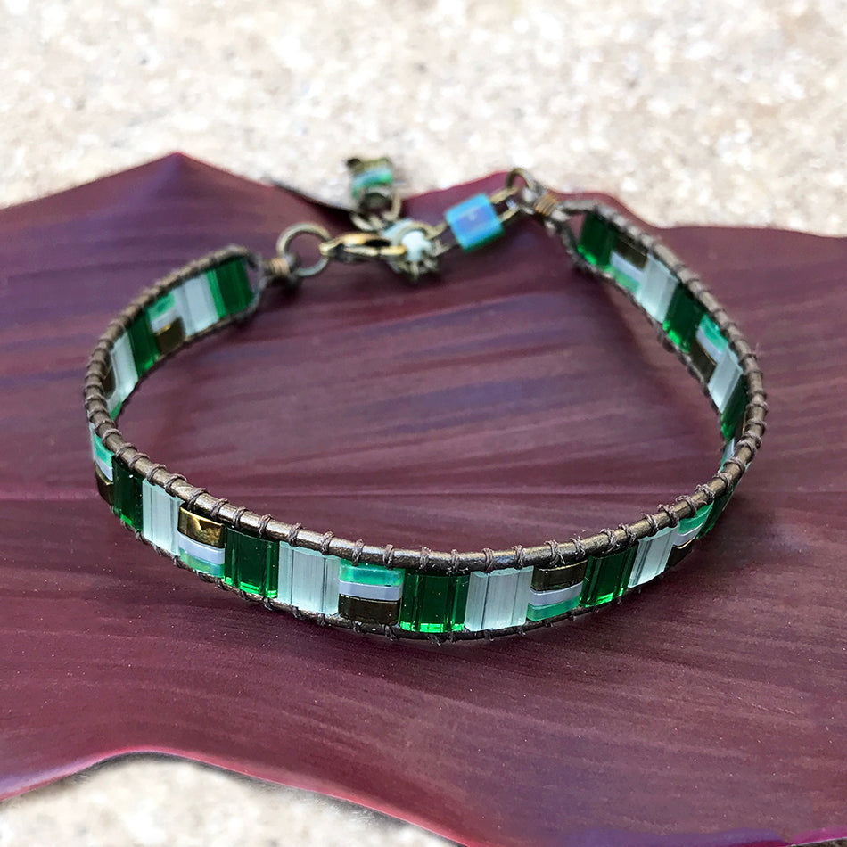 Fair trade bead and leather bracelet handmade by women in Guatemala