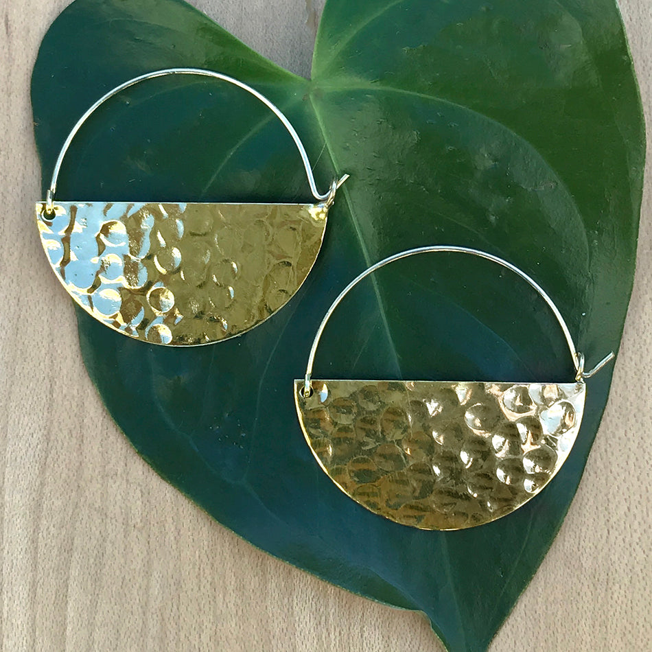 Fair trade brass hoop earrings handmade in India