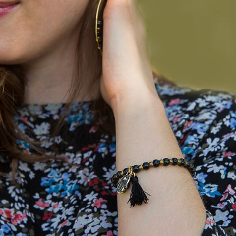 Fair trade hamsa bracelet handmade by women in Peru