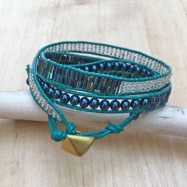 Hear My Voice Wrap Bracelet - Teal, Kenya