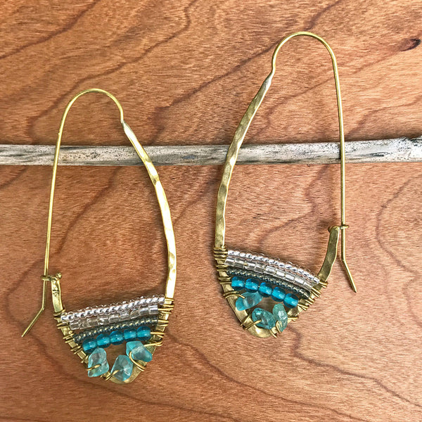 Hear My Voice Earrings - Apatite, Kenya