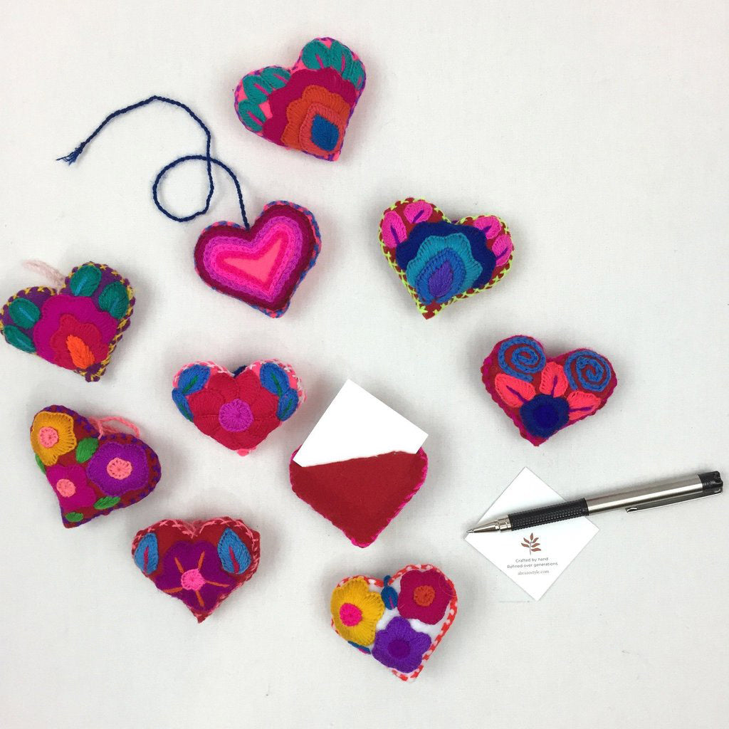 Embroidered Message Heart Ornament, Mexico