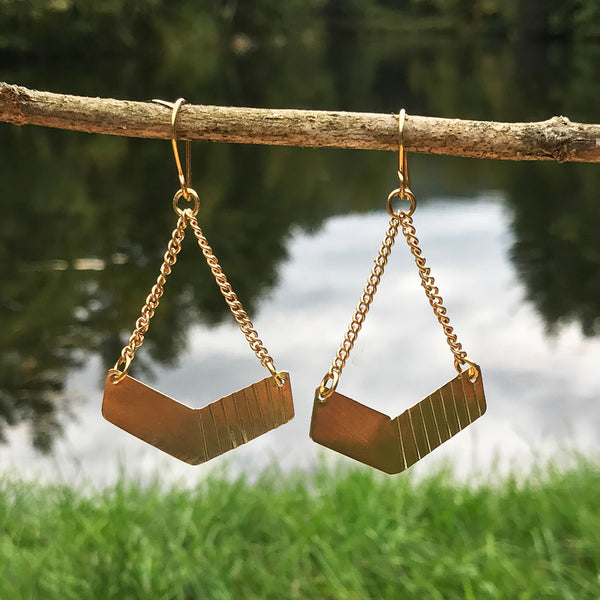 Fair trade handmade brass earrings Kenya