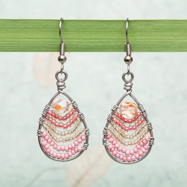 Dewdrop Earrings - Pink, Guatemala