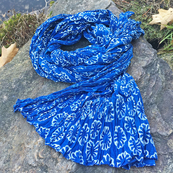 Nature's Gift Indigo Crinkle Scarf - Floral, India