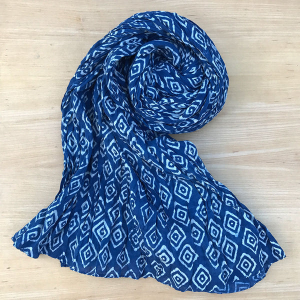 Nature's Gift Indigo Crinkle Scarf - Diamond, India