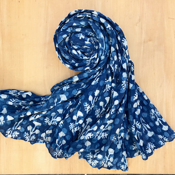 Nature's Gift Indigo Crinkle Scarf - Forest, India
