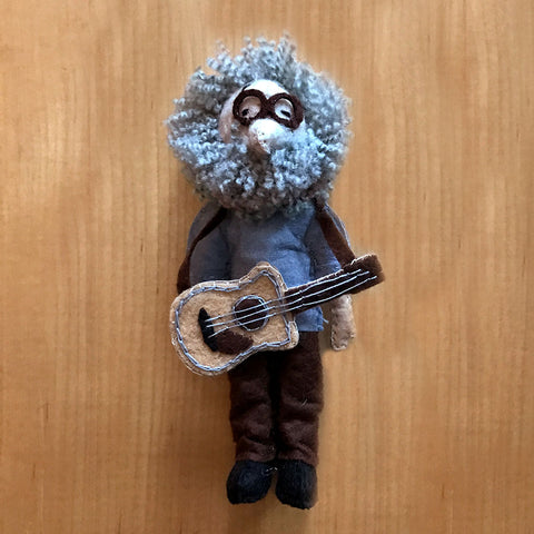 Jerry Garcia felted figurine ornament handmade in Kyrgyzstan