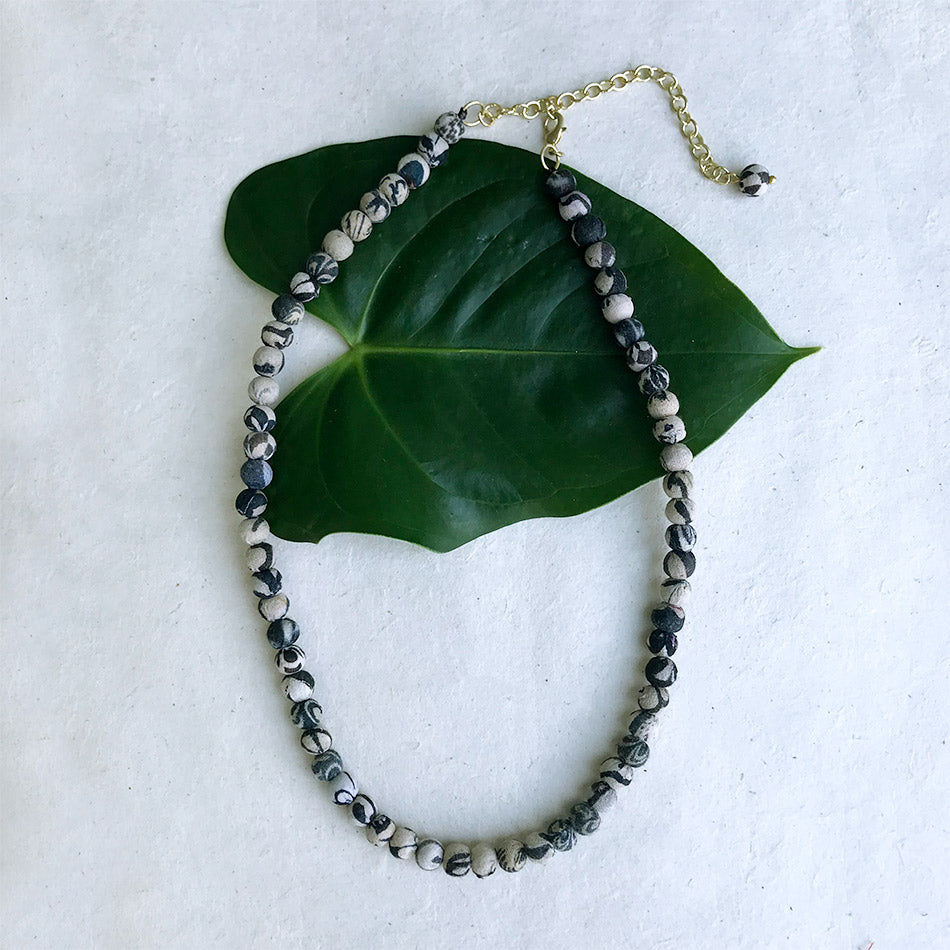 Fair trade recycled sari necklace handmade by women in India