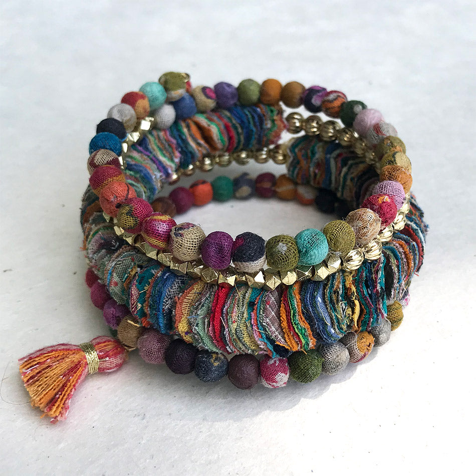 Fair trade recycled kantha bracelet handmade by women in India