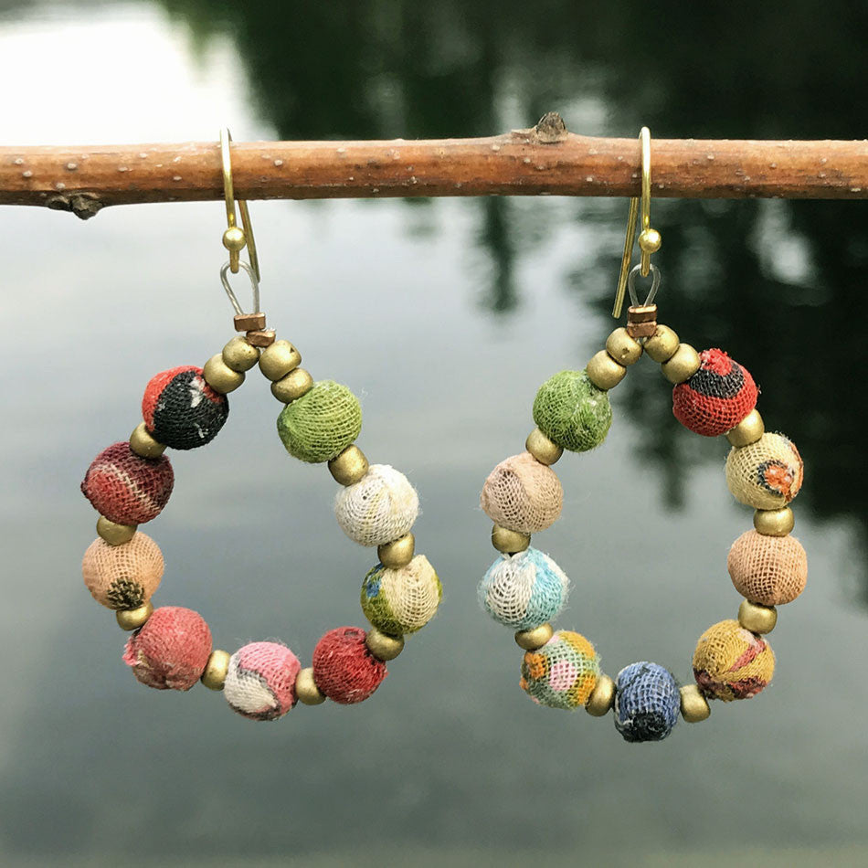 Recycled, fair trade kantha beaded earrings India