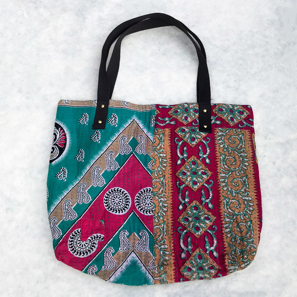 Recycled Sari Freedom Tote - Pink, India