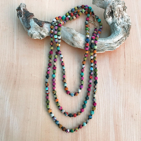 Fair trade, handmade, recycled bead necklace from India.