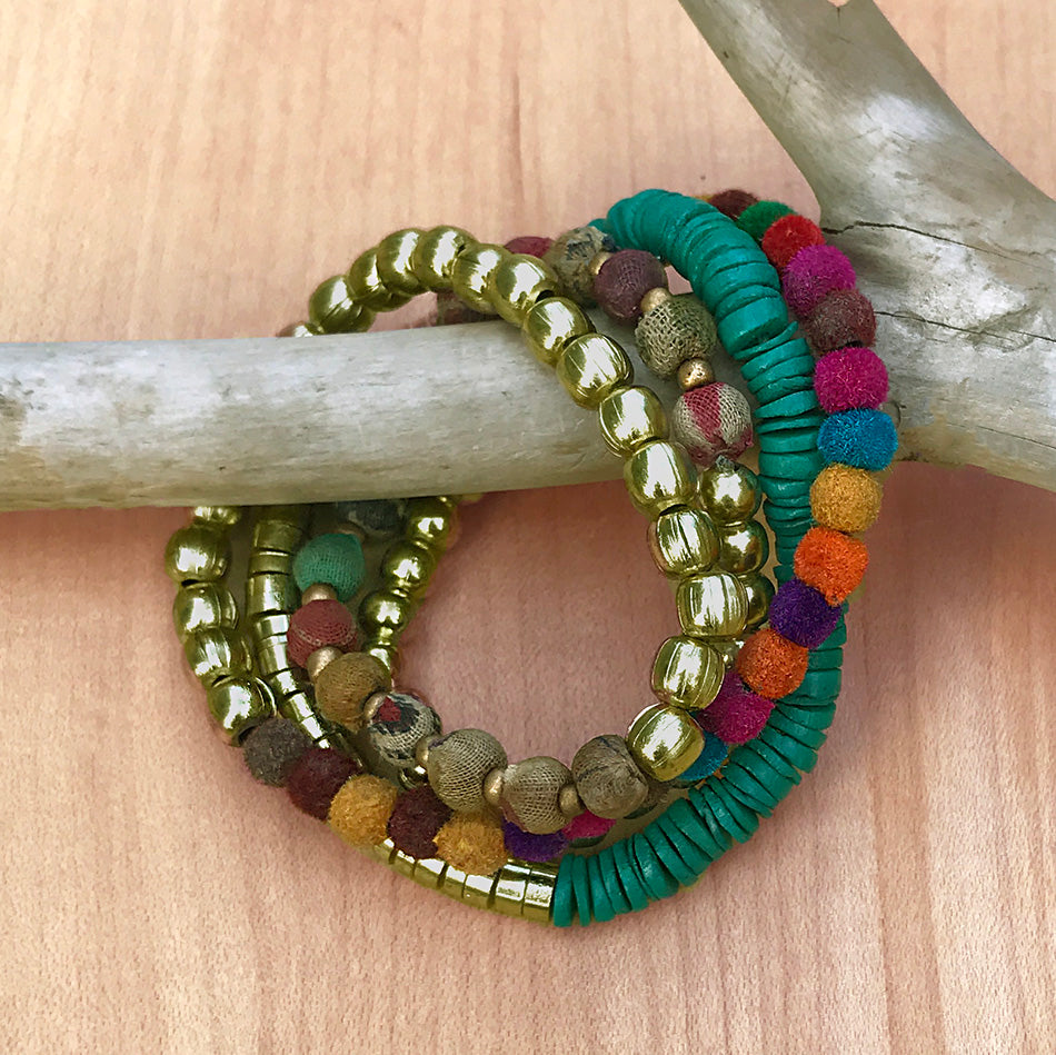 Fair trade recycled fabric necklace bracelet handmade by women in India