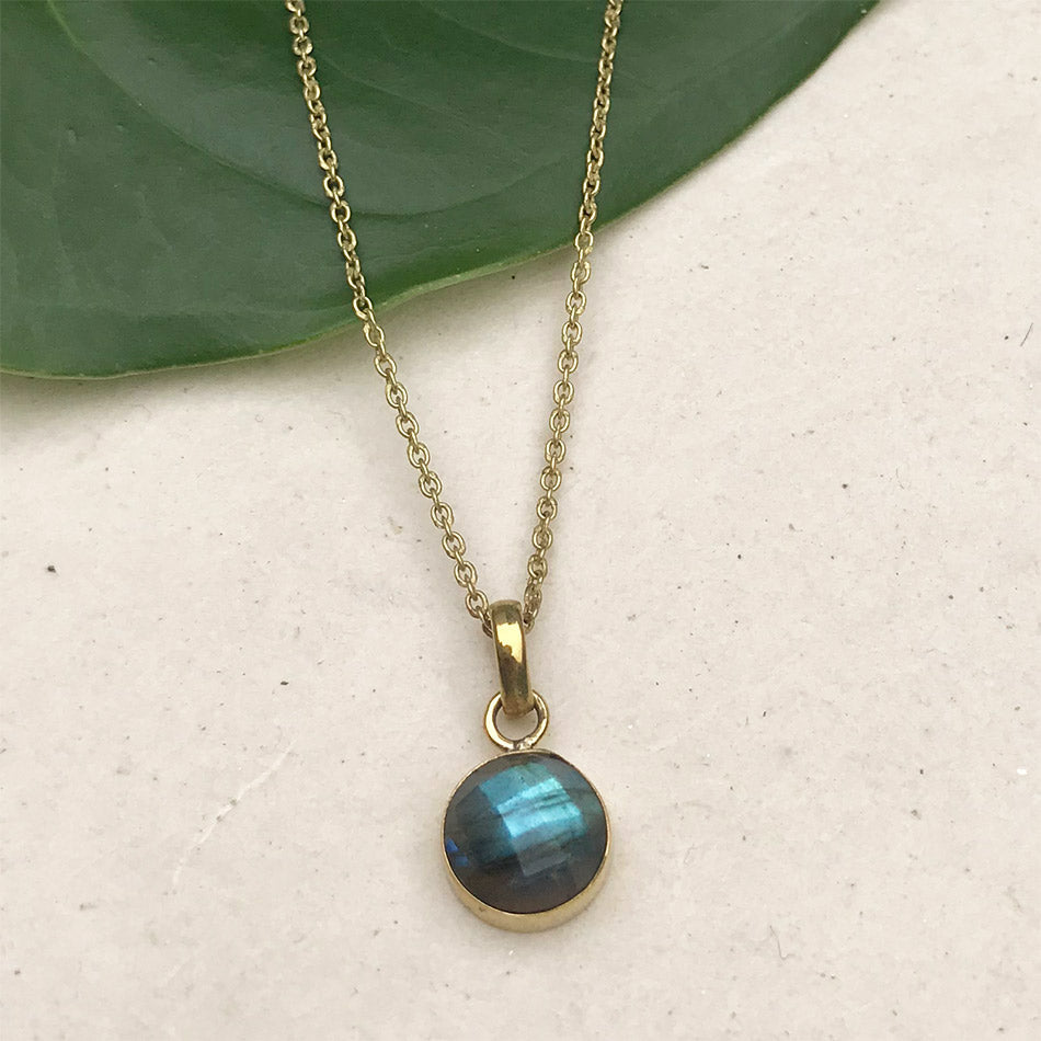 Fair trade labradorite brass necklace