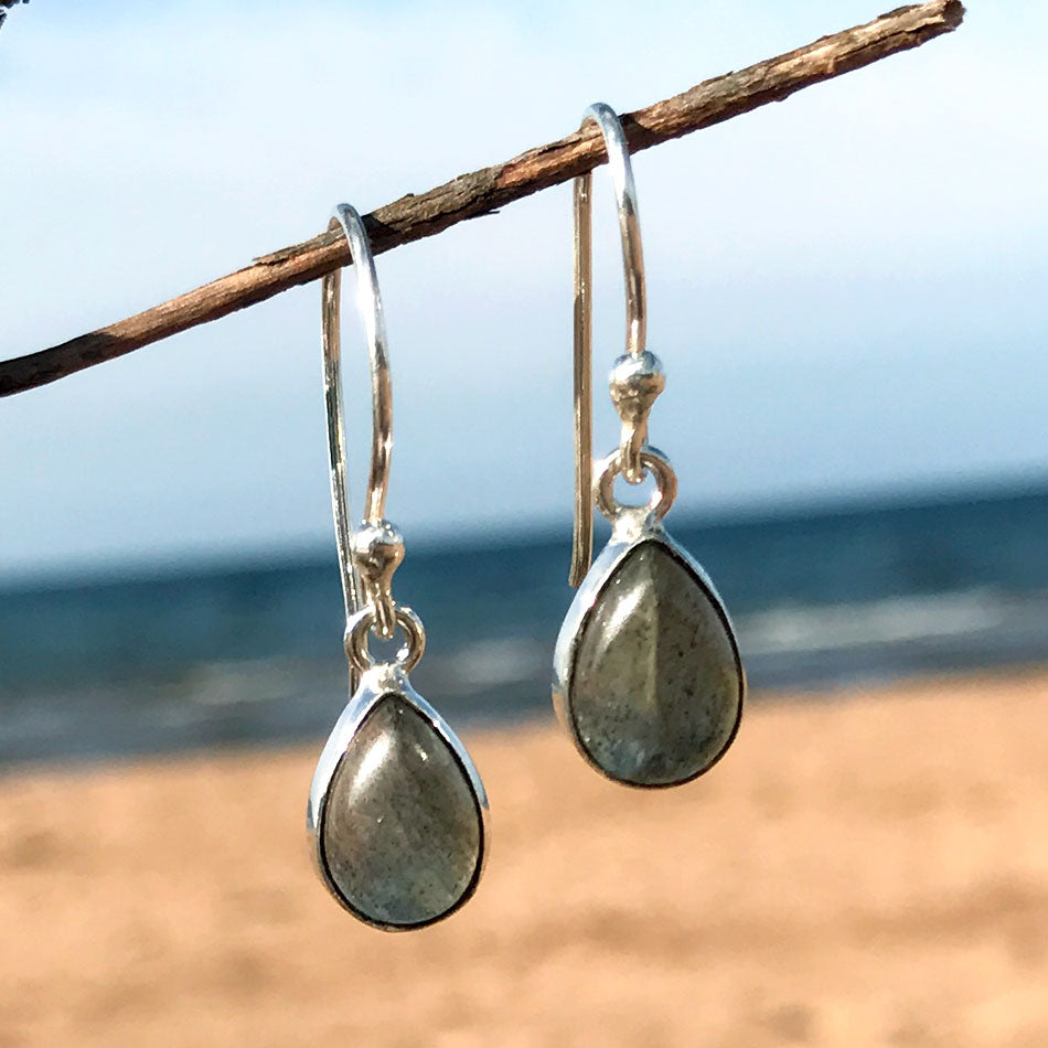 Labradorite Teardrop Earrings, India