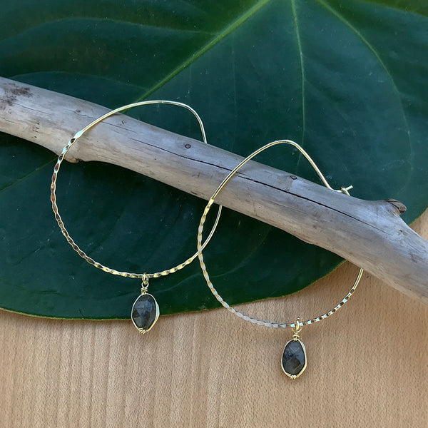 Recycled fair trade brass hoop earrings with labradorite.