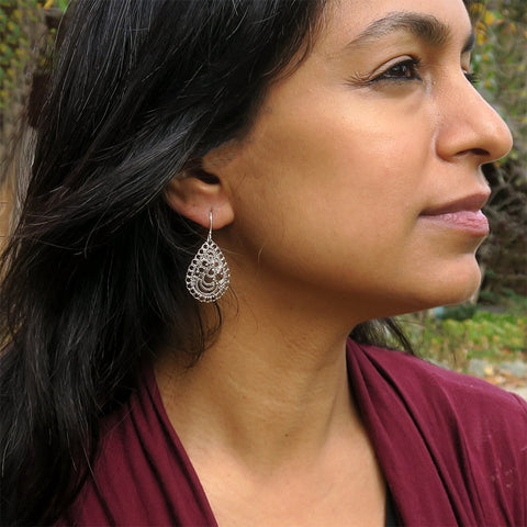 Sterling silver fair trade filigree earrings