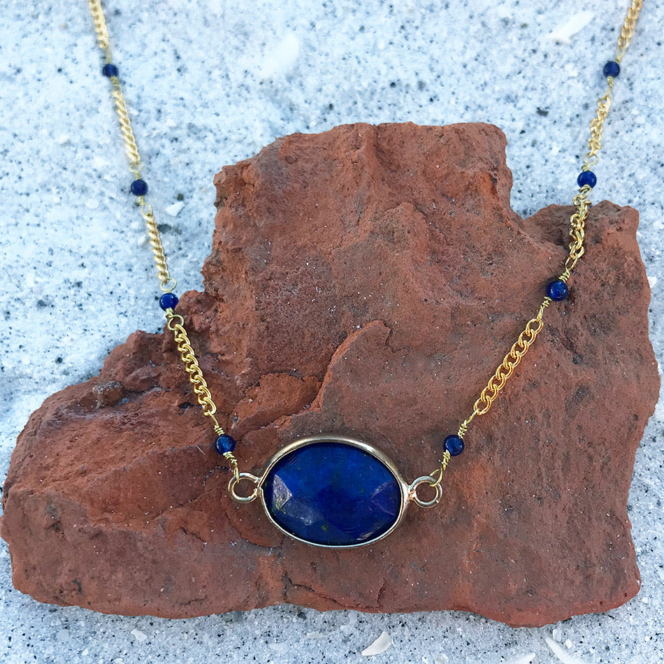 Fair trade lapis necklace handmade by women in Peru