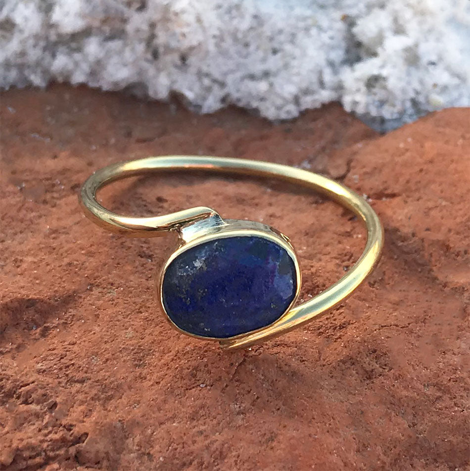 Fair trade lapis ring handmade by artisans in India
