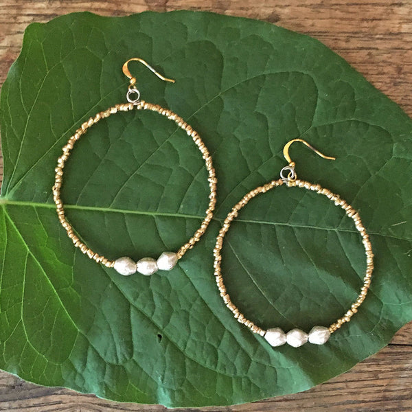 Natania Hoop Earrings - Gold, Ethiopia