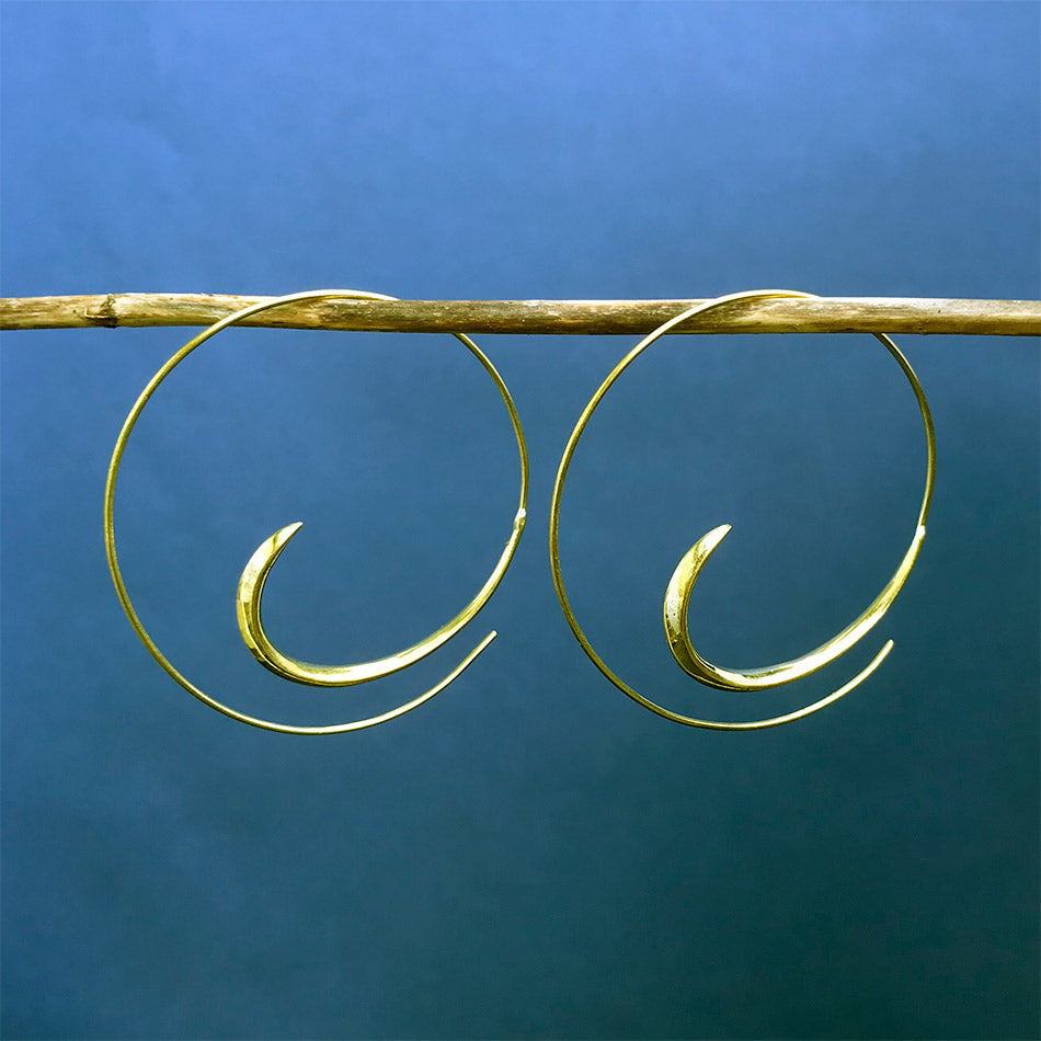 Fair trade brass hoops earrings handmade in India