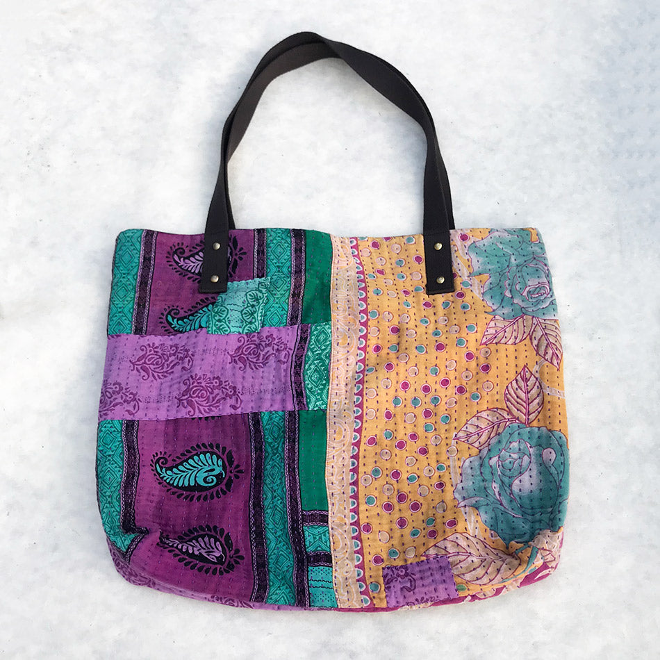 Fair trade recycled tote bag handmade by survivors of human trafficking