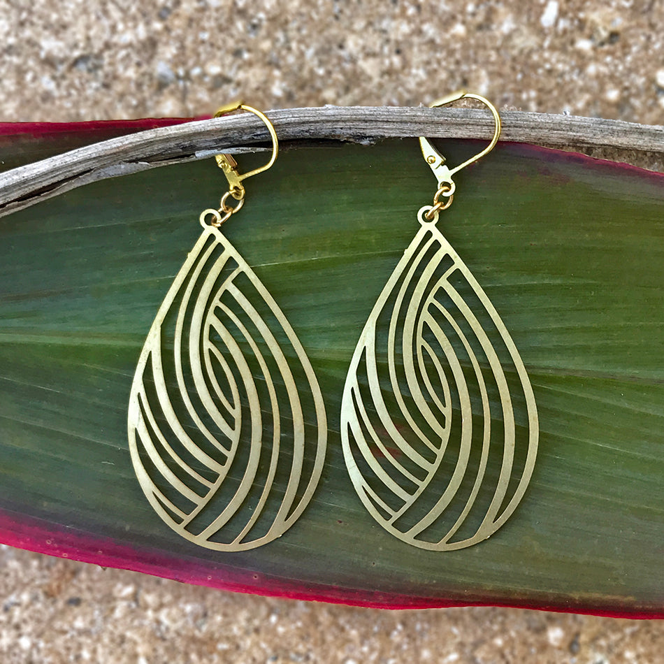 Fair trade brass statement earrings handmade in Guatemala