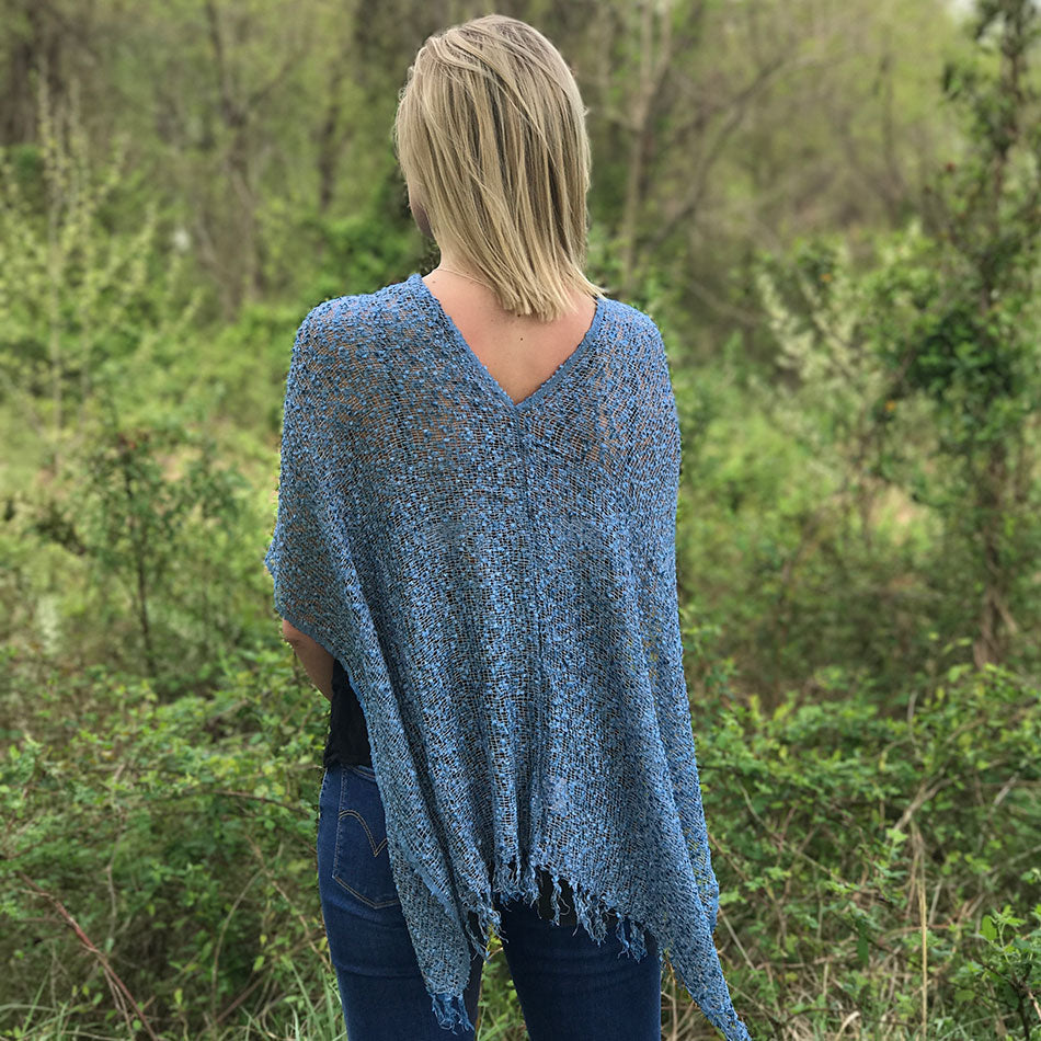 Fair trade handmade poncho shrug from Nepal