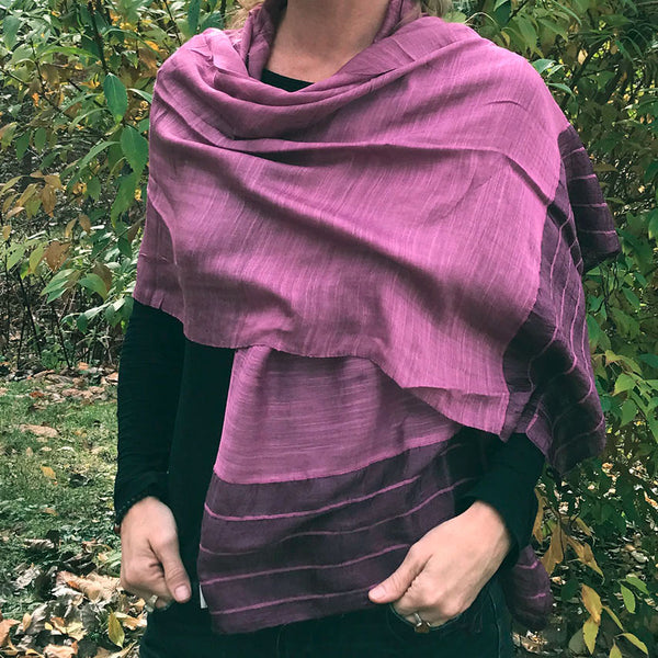 Gaia Silk/Cotton Scarf - Purple, Vietnam