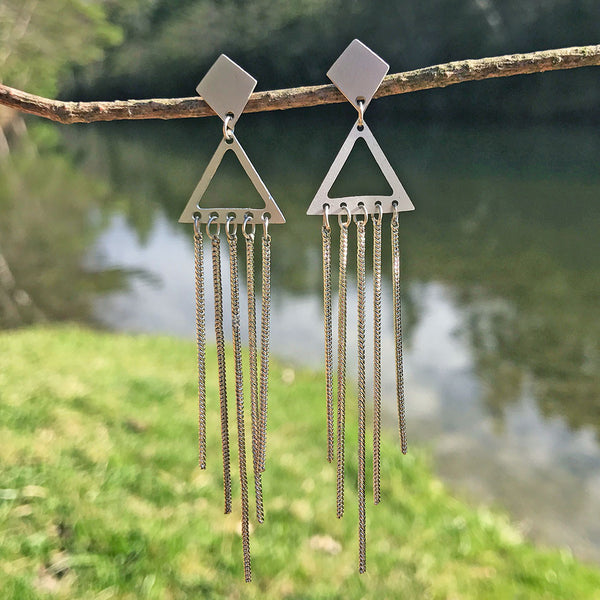 Chime Along Earrings - Silver, India