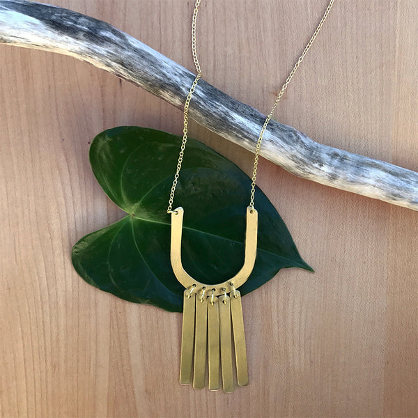 Brass fair trade statement necklace handmade in India