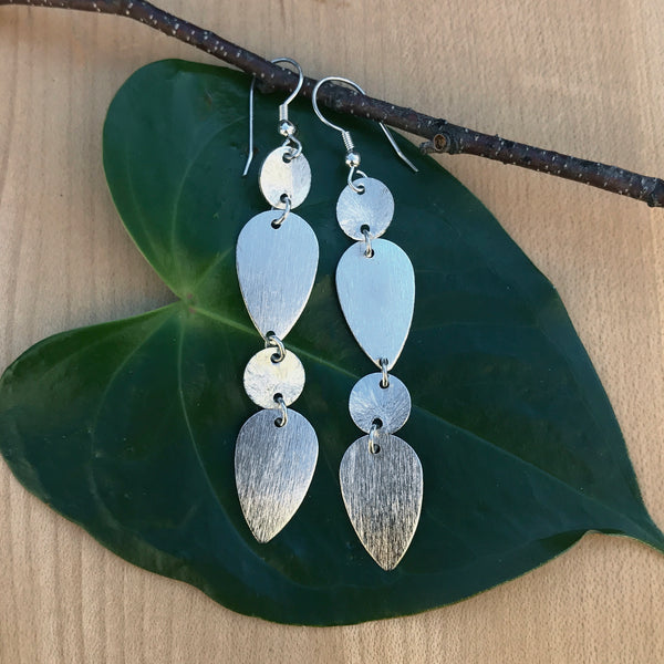 Silver fair trade statement earrings handmade in India