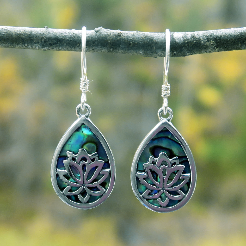 Sterling silver fair trade abalone earrings
