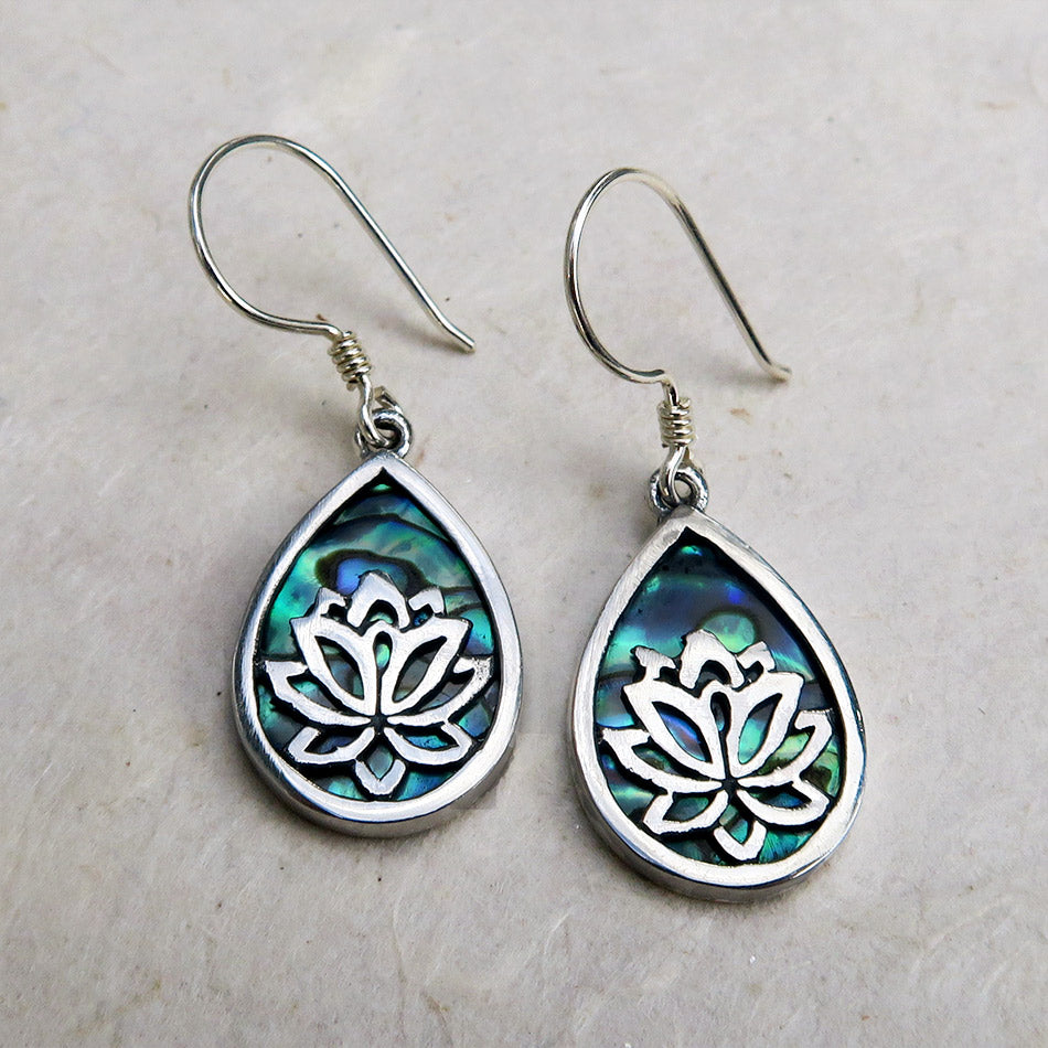 Sterling silver abalone fair trade earrings