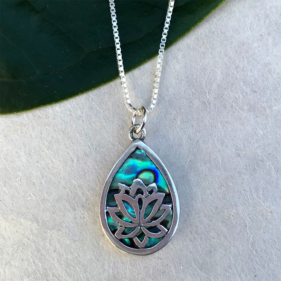 Fair trade sterling silver abalone necklace lotus