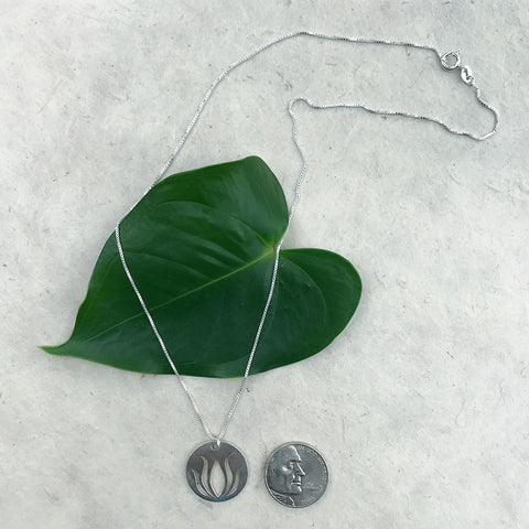 Fair trade sterling silver lotus necklace handmade in Thailand