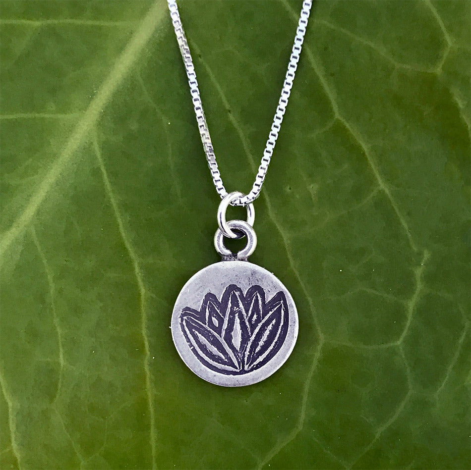 Sterling silver lotus flower fair trade necklace handmade in Thailand