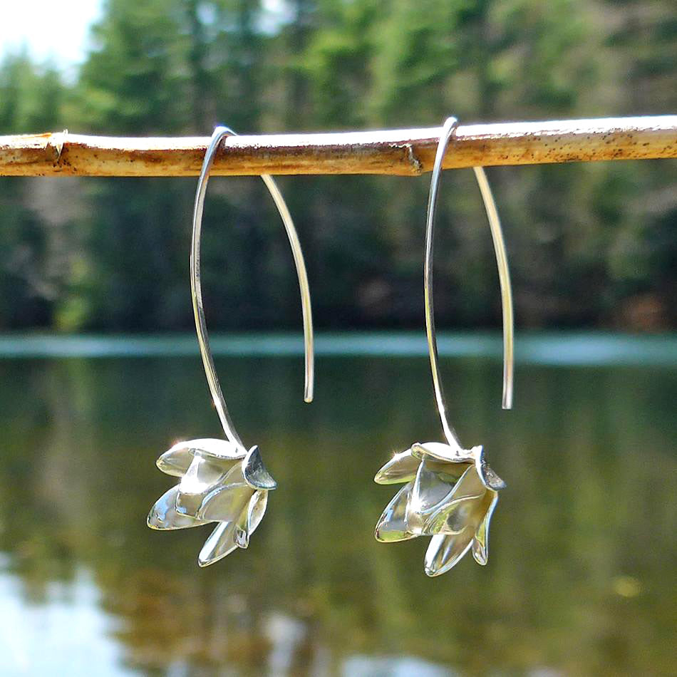 Fair trade sterling silver lotus earrings handmade in Bali