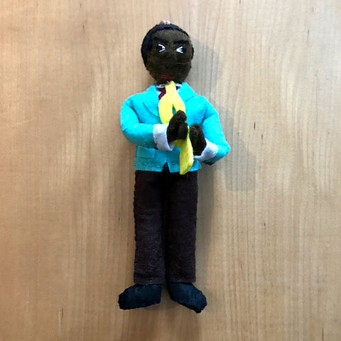 Louis Armstrong figurine hand felted in Kyrgyzstan