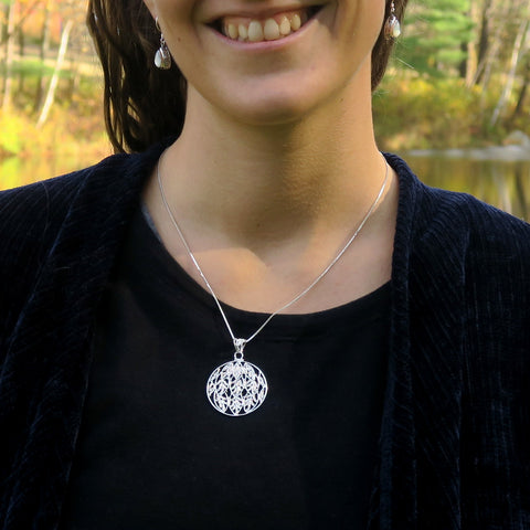Fair trade sterling silver filigree necklace handmade in Bali
