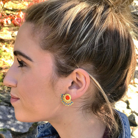 Fair trade stud earrings handmade by women in India