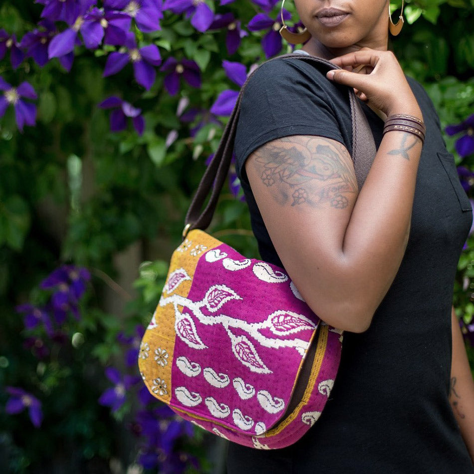 Fair trade recycled sari bag handmade by survivors of human trafficking